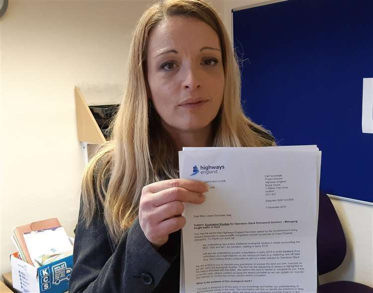 Claire Hall with the letter she got from Highways England in December 2018 Picture: Sam Lennon