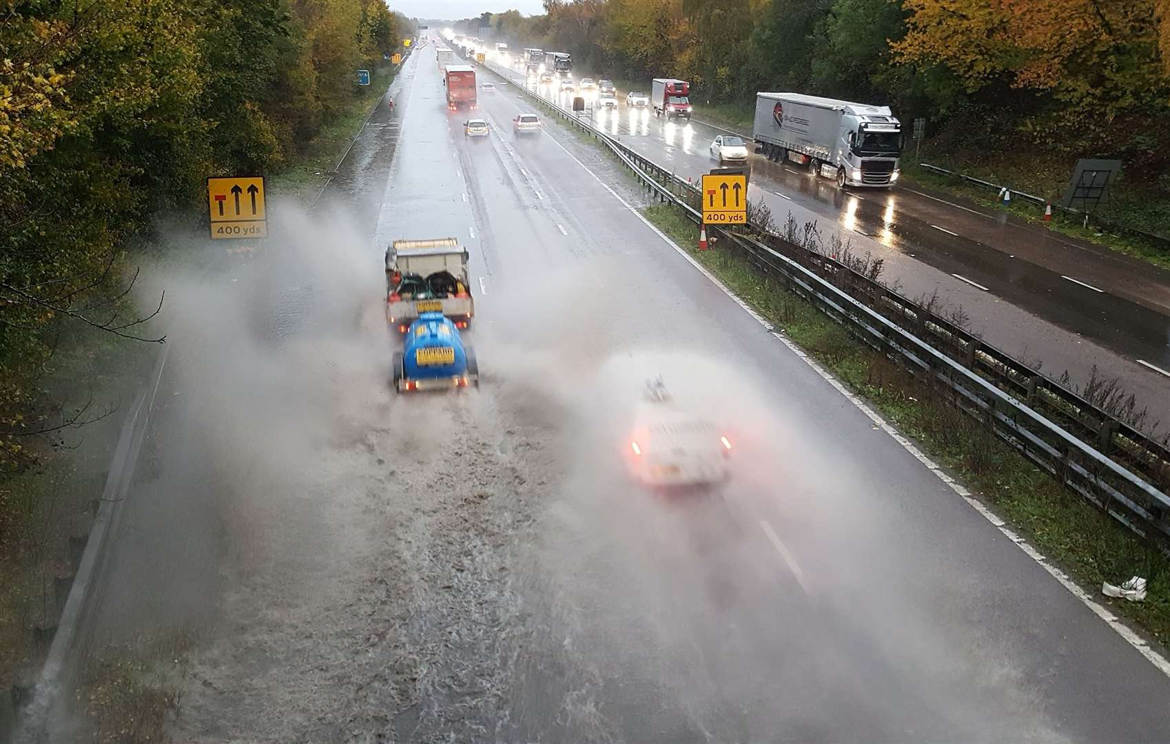 Surface water on the M20 near Ashford