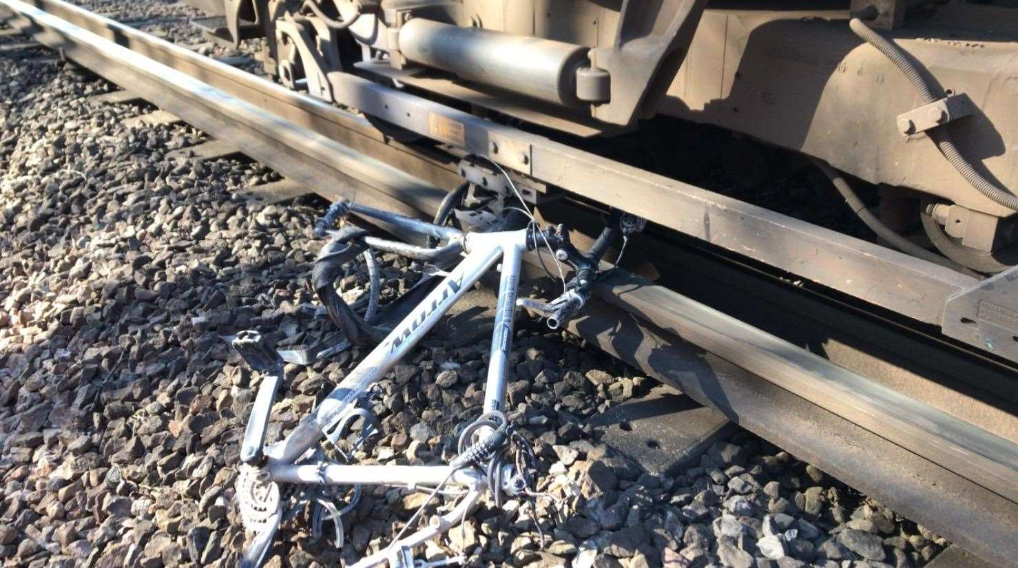 A train struck a bike on the tracks near Swanley. Picture: Network Rail Kent and Sussex