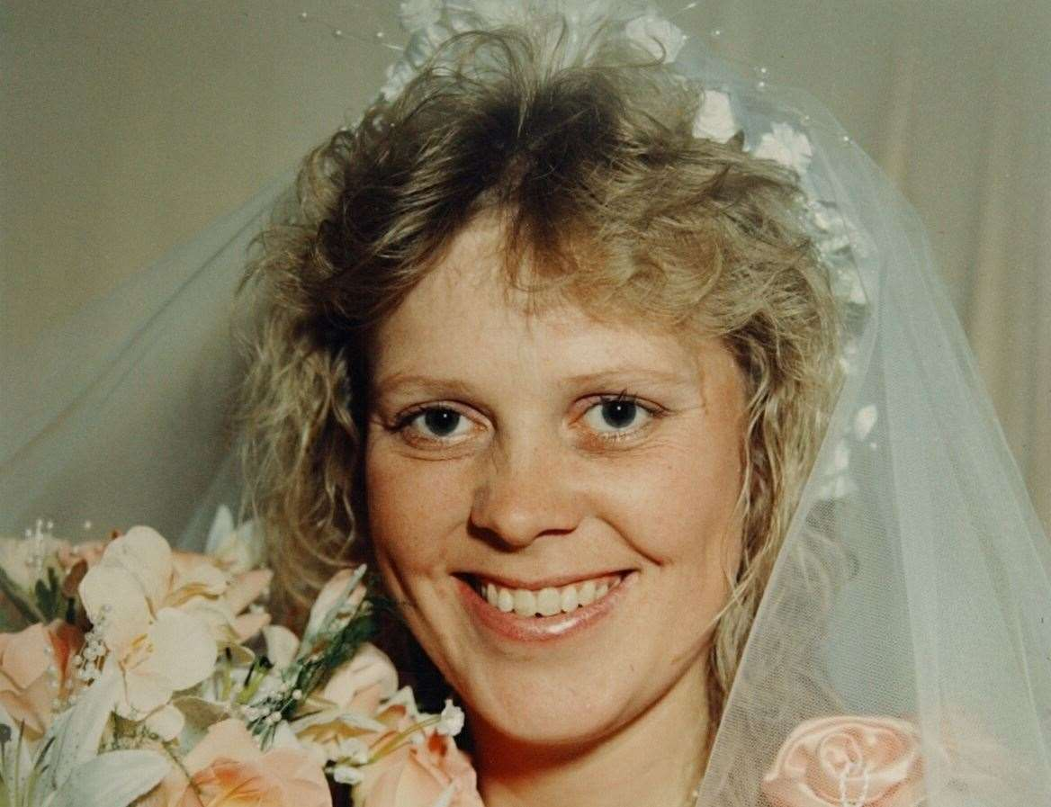 Debbie Griggs on the day she married husband Andrew, who is accused of murdering her