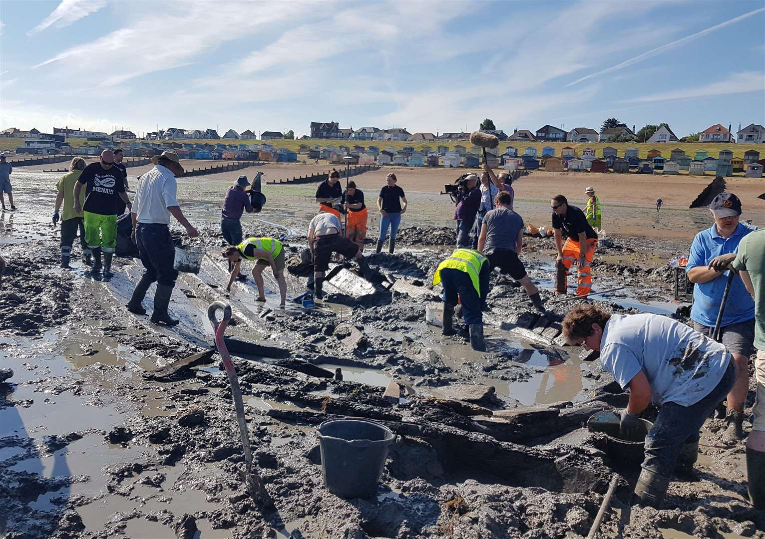A shipwreck excavation taking place in Tankerton