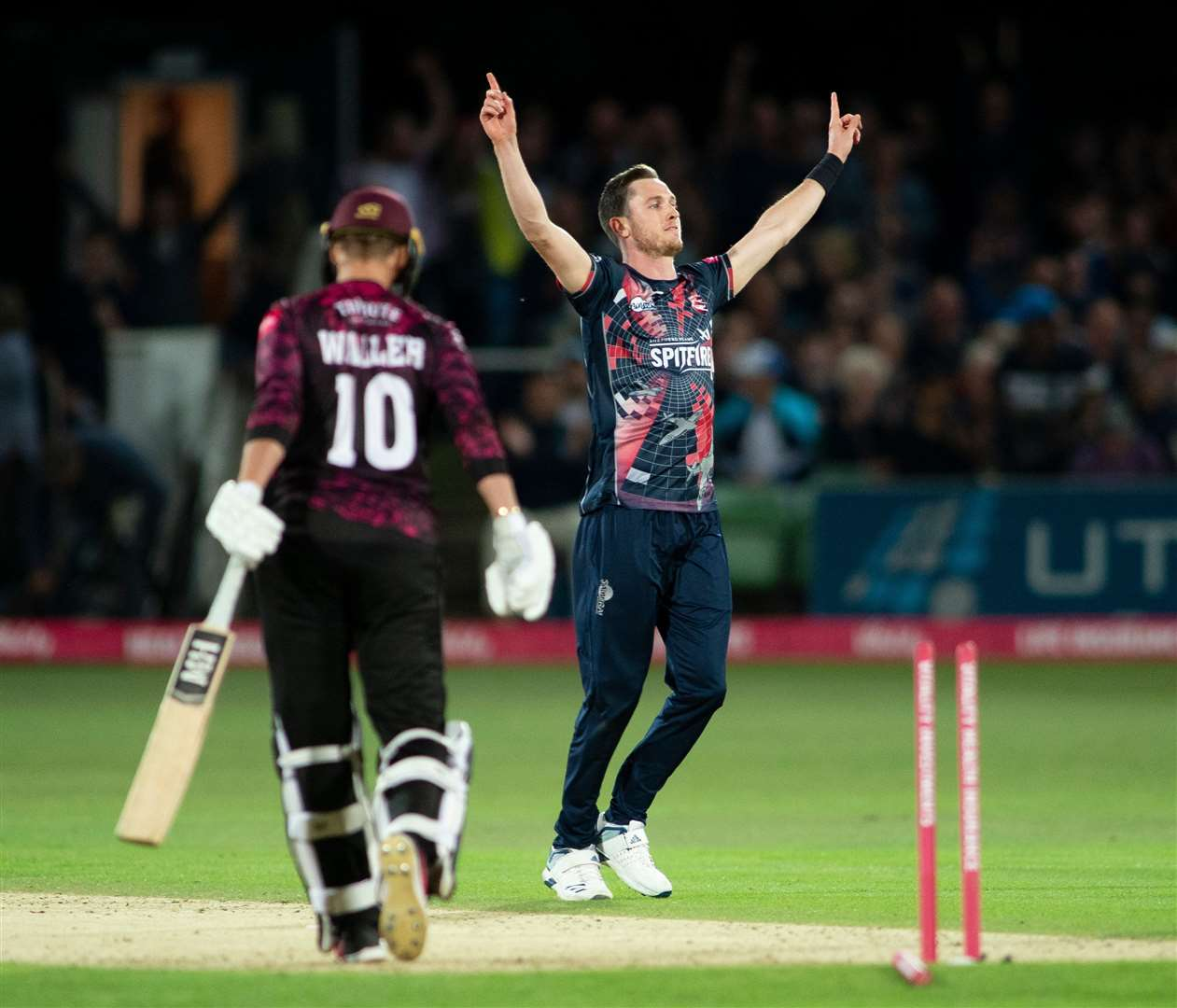 Adam Milne celebrates a wicket against Somerset. Picture: Ady Kerry