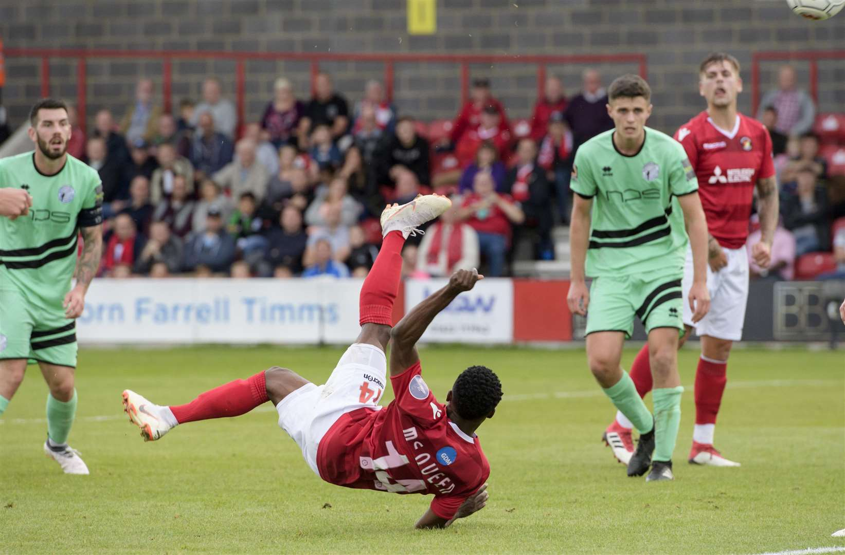 Darren McQueen goes for the spectacular against Gateshead Picture: Andy Payton