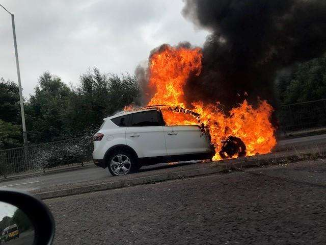 The car was on fire on the A21 Pembury turn off (2995405)