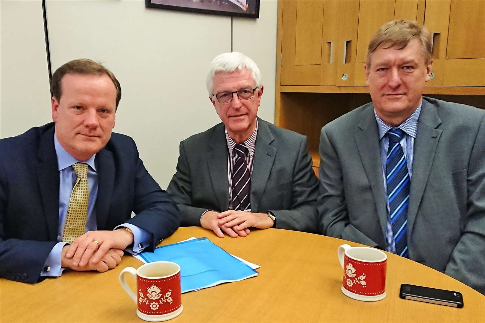 Deal MP Charlie Elphicke and Dover District Council leader Keith Morris with M&S head of public affairs Tony Ginty (centre)