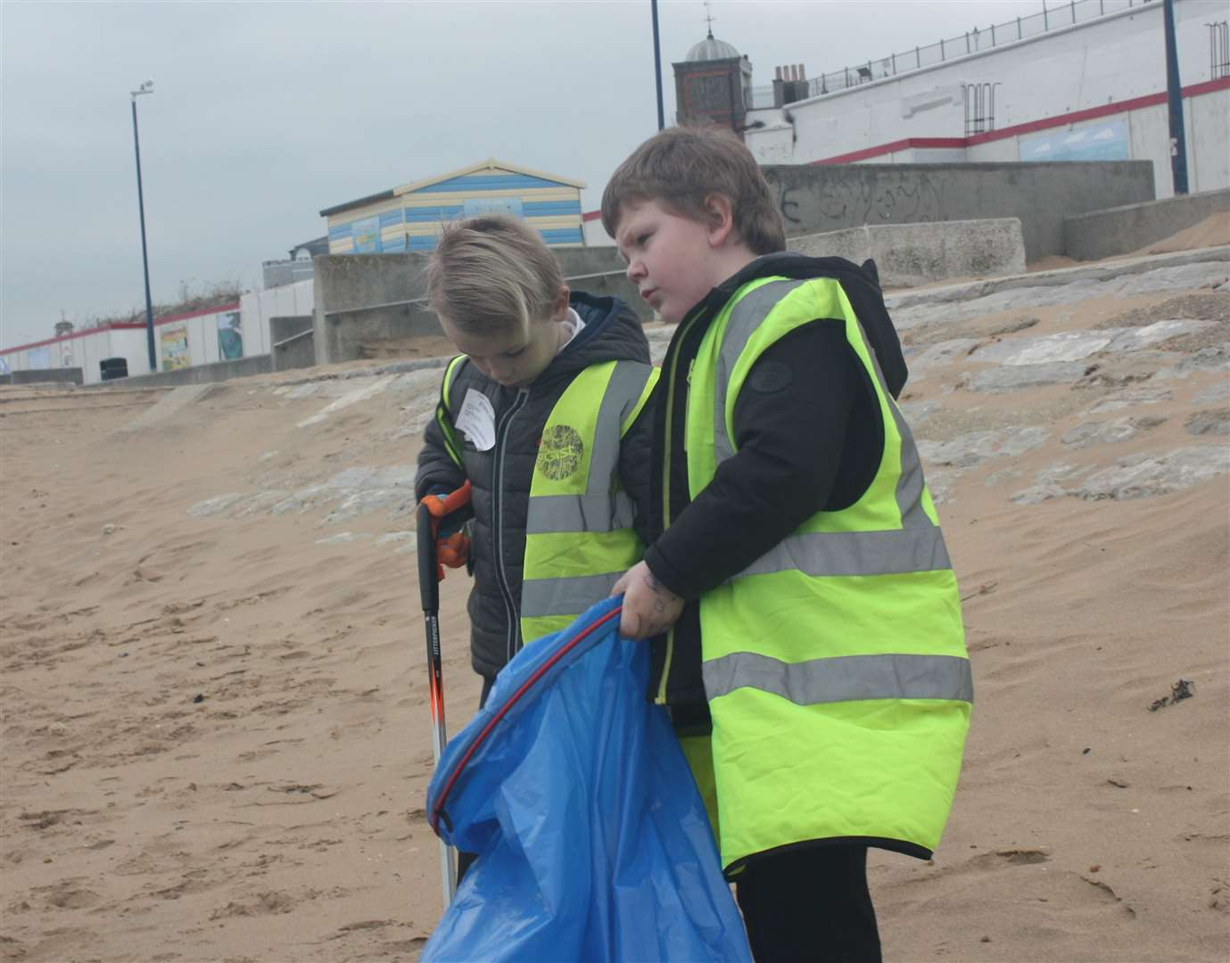 Youngsters cleaning a beach in Thanet last year
