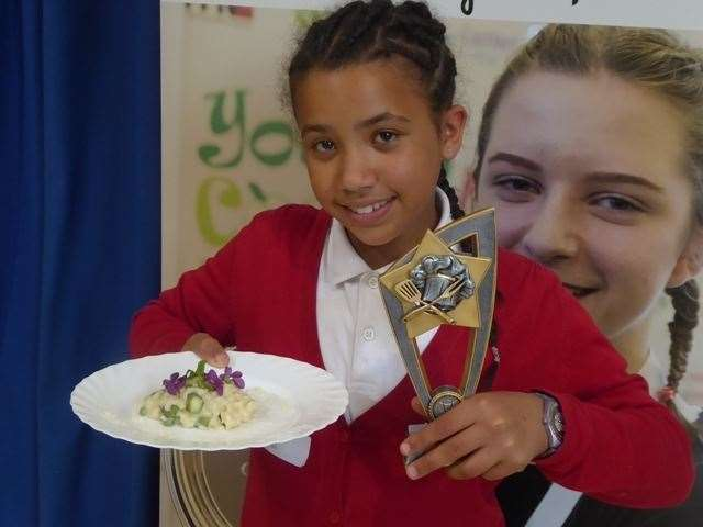 Morgane Argivier from Milstead and Frinsted Primary won the Young Cooks taster challenge with her Kentish spring garden risotto (10188815)
