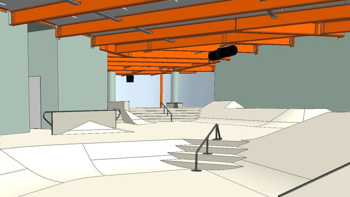 The street level will include stair sets, ledges, handrails and more. Pictures: Cambian Action Sports