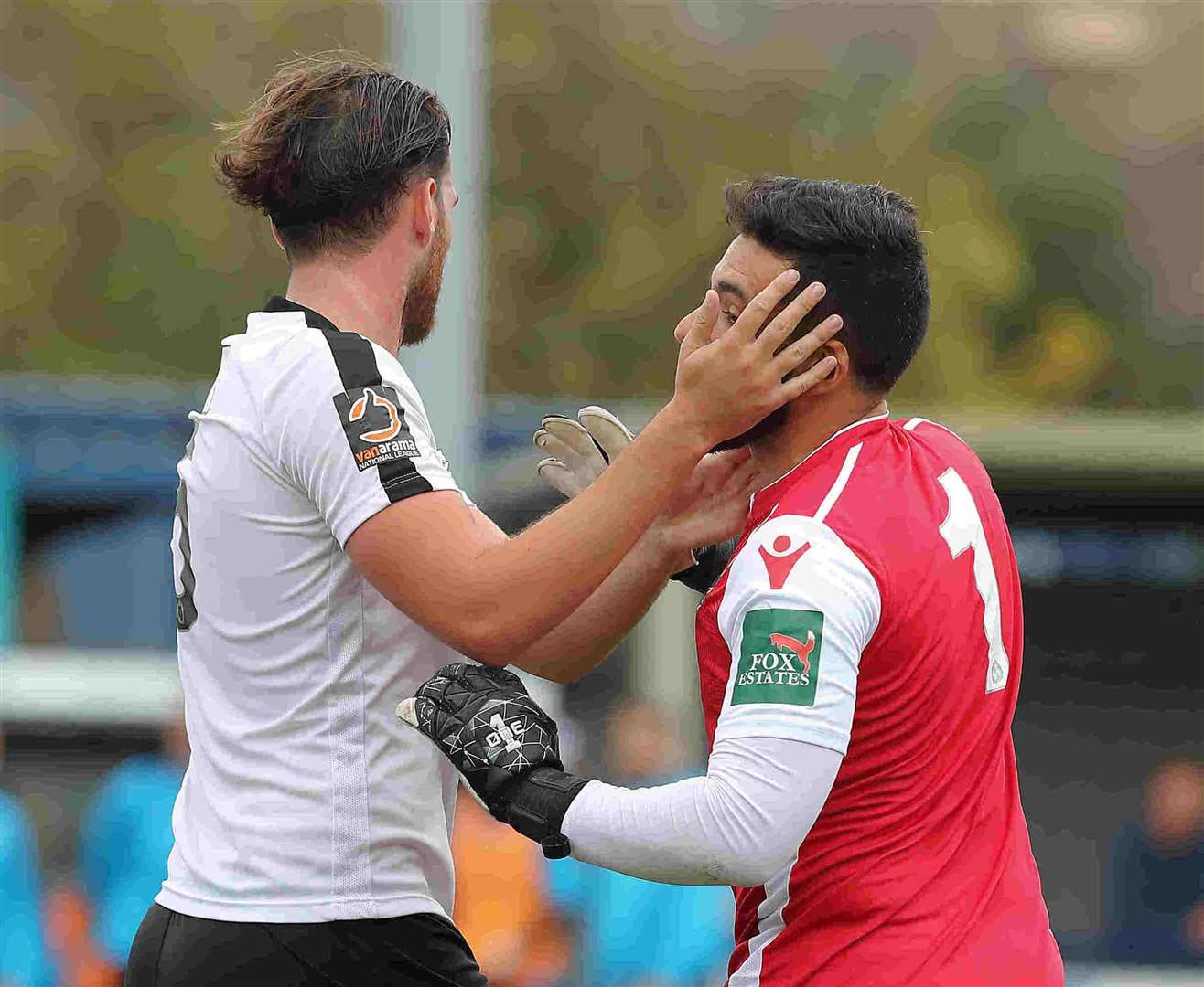 Ronnie Vint congratulates Deren Ibrahim on his winning goal Picture: Richard Chappell