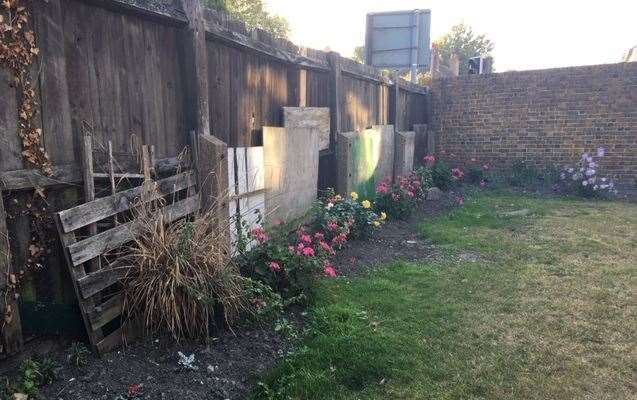 The fence is supported by a section of boards and pallets - but the flowers are colourful