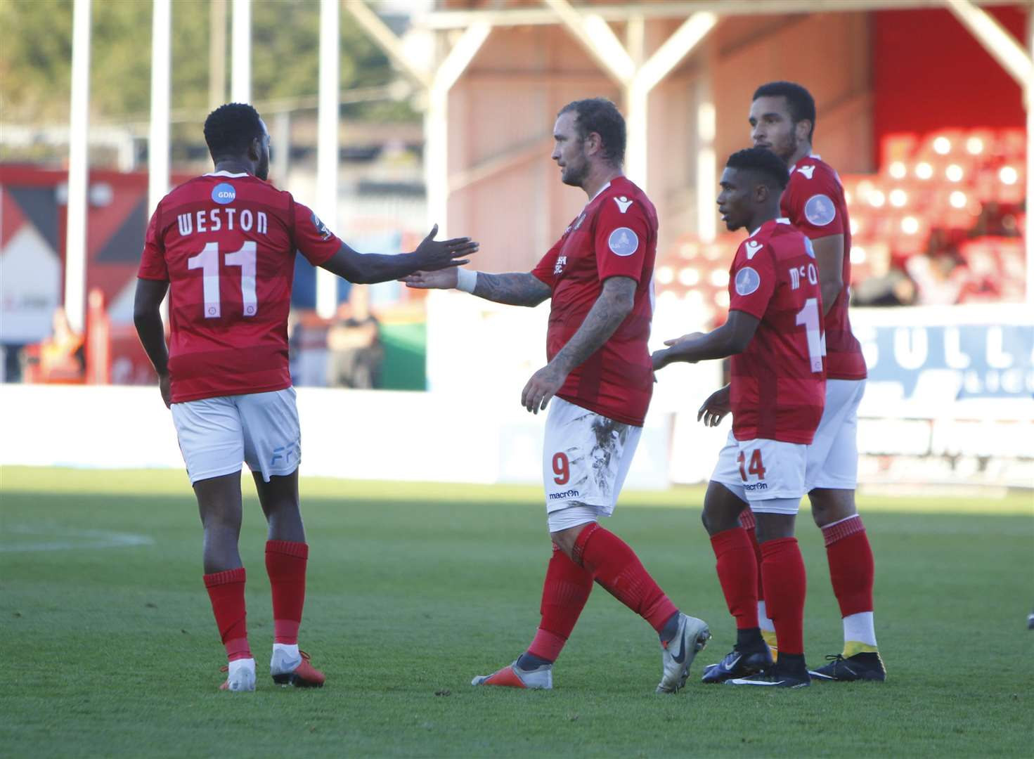 Ebbsfleet celebrate scoring against Worthing in the FA Cup Picture: Andy Jones