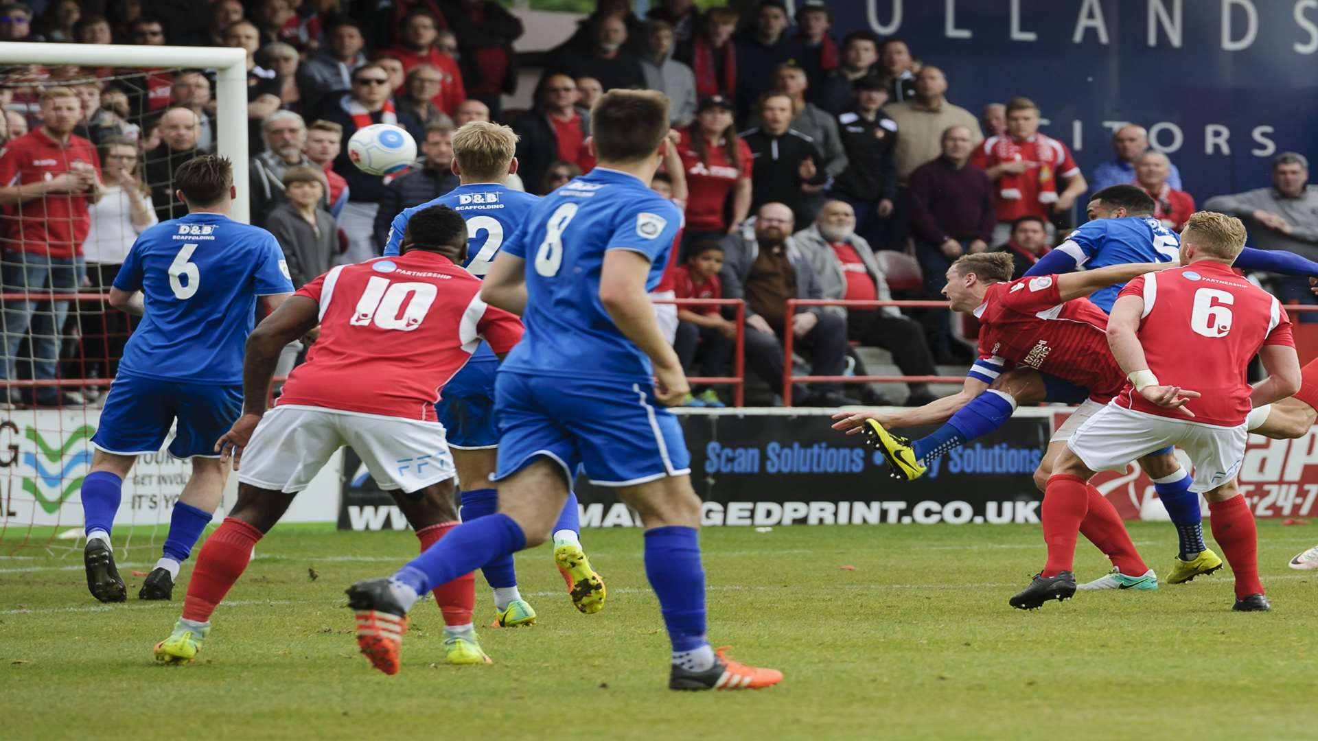 Dave Winfield (wearing armband) heads in the equaliser Picture: Andy Payton