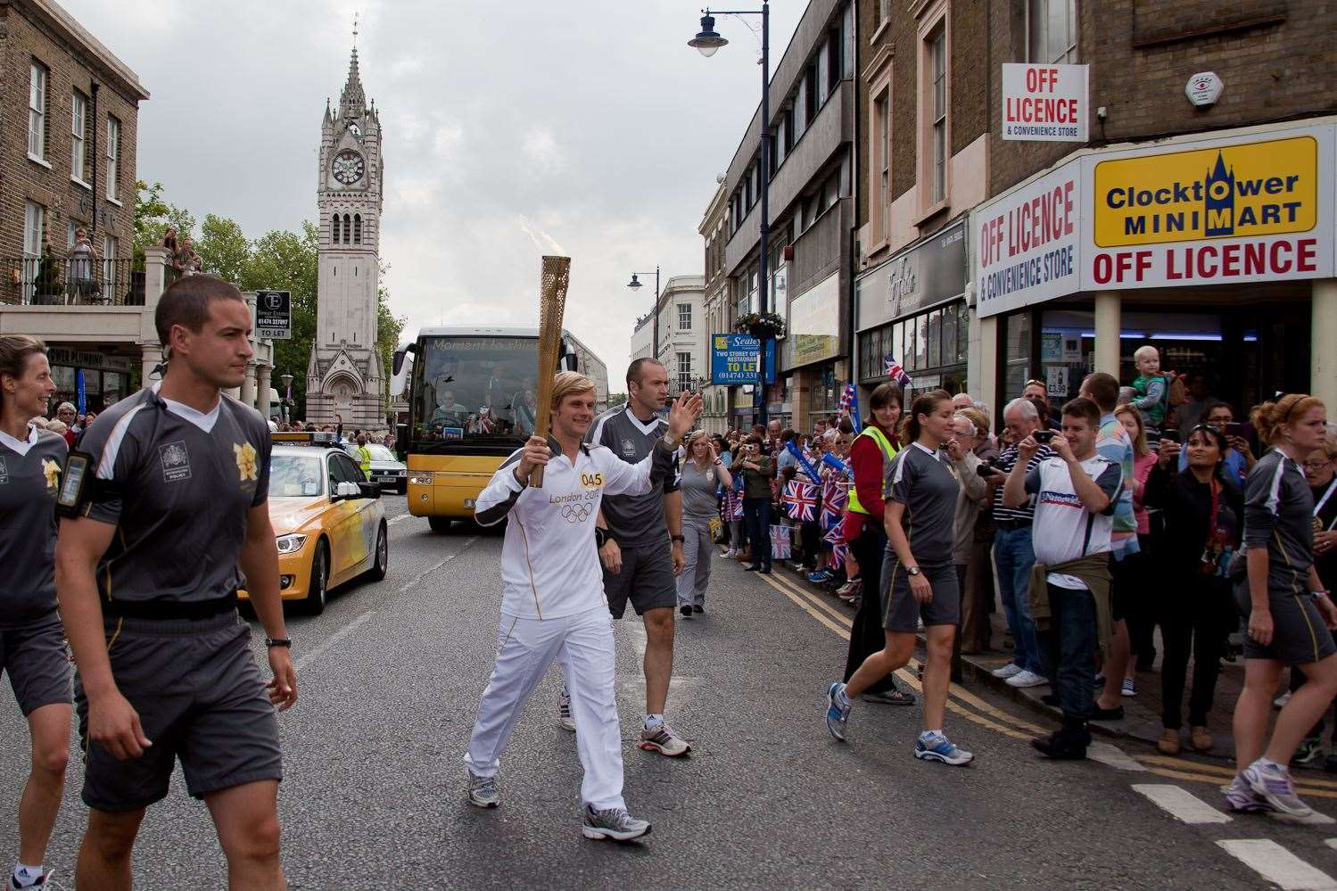 The Olympic torch travels through Gravesend town centre. Pic: Ian Marriott Smith