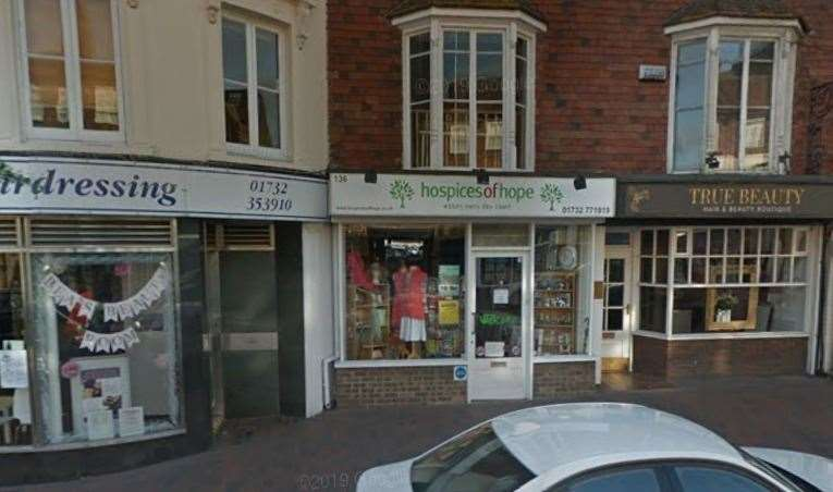 The Hospices of Hope shop in Tonbridge High Street was targeted at the end of last month. Picture: Google street view
