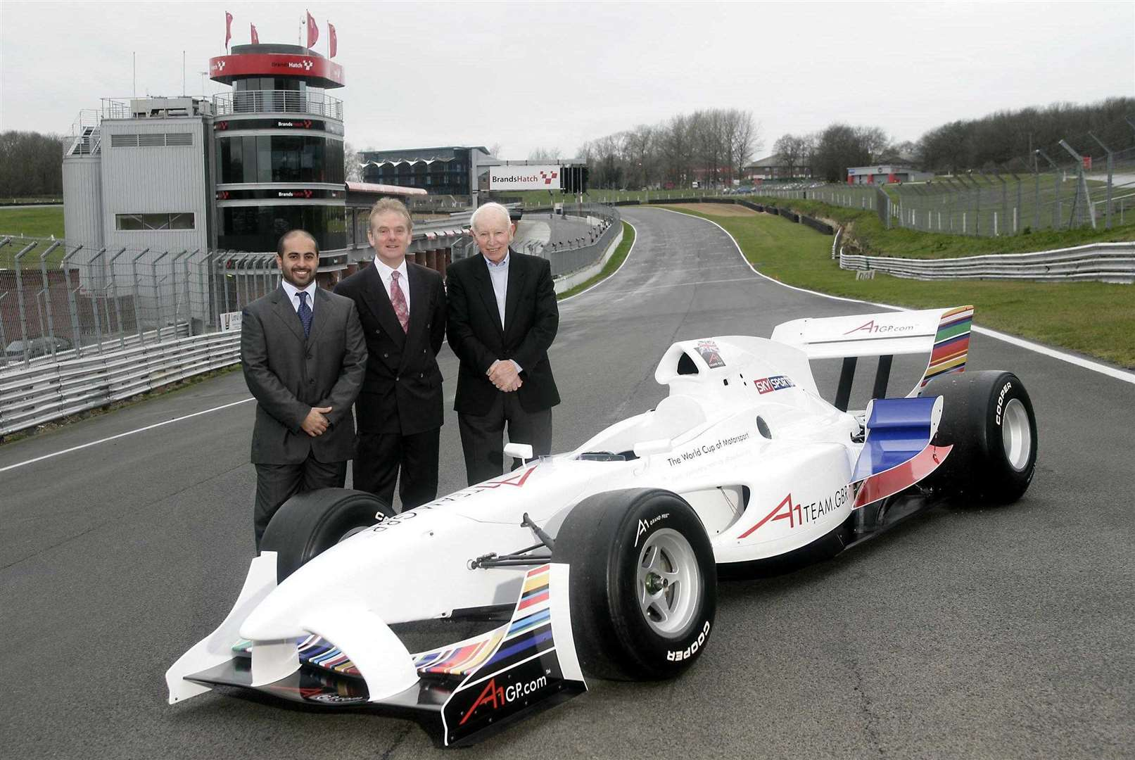 Sheikh Maktoum, MSV chief executive Jonathan Palmer and Team GB boss John Surtees at Brands in January 2005; Sheikh Maktoum sold his shares in the series in 2006