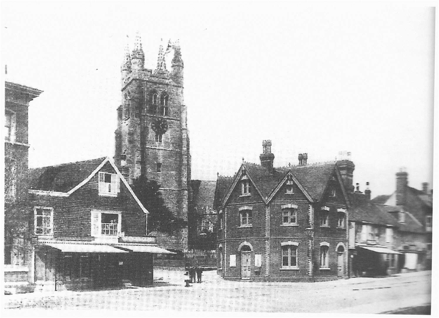 Tenterden Police Station photographed with St Mildred's Church in the background in the 1880s. Picture: Christine Hickmott-Arnold