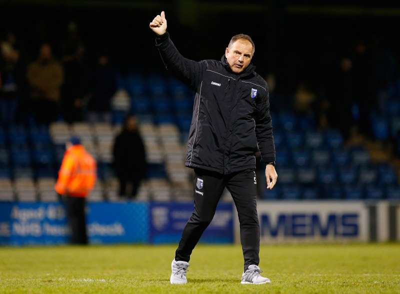 Steve Lovell salutes the home fans after a 4-1 win over Bristol Rovers Picture: Andy Jones