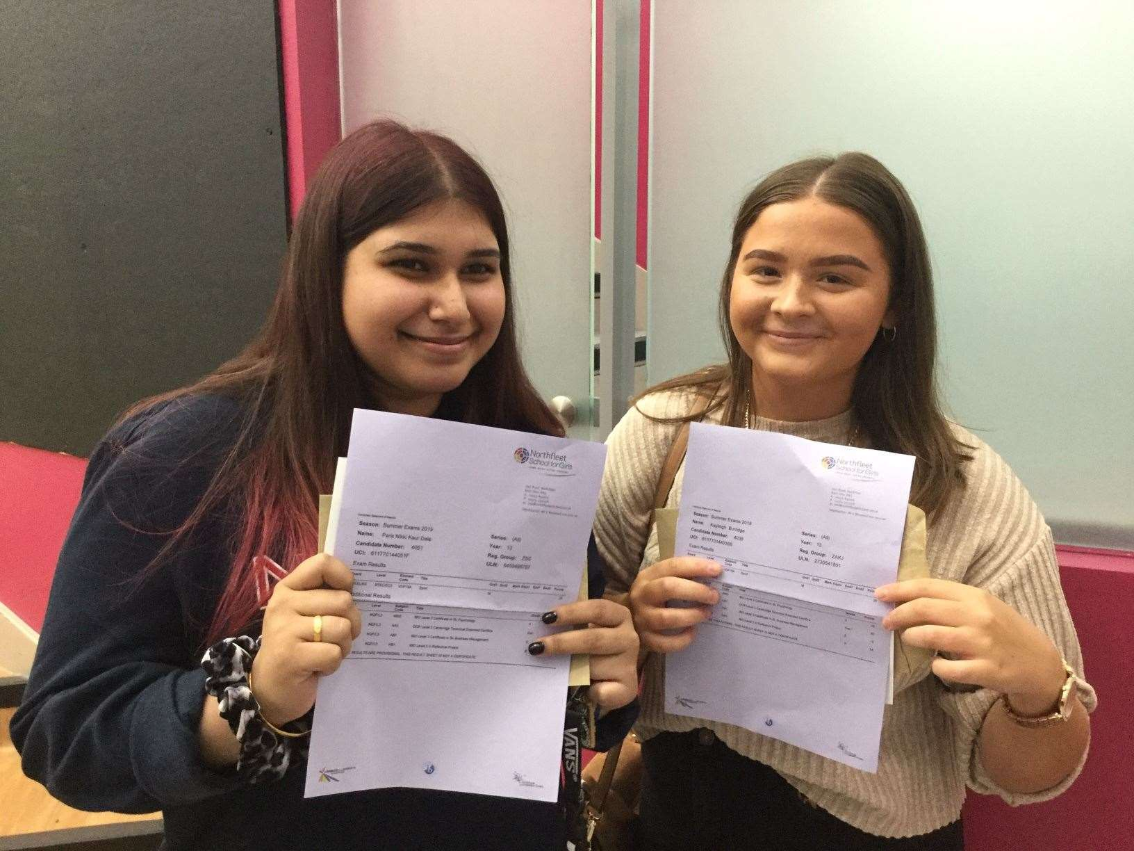 Paris Dale and Kayleigh Burridge from Northfleet School for Girls