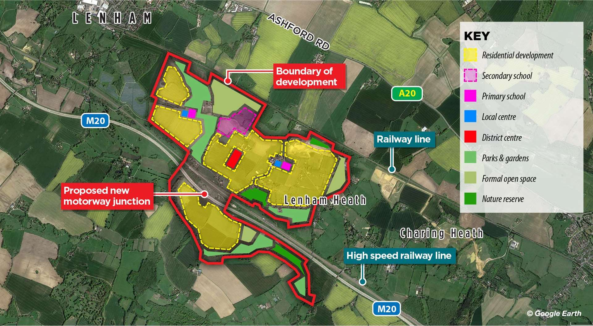 A map showing how the original plans for Lenham garden community would have looked. Created by KM Graphics