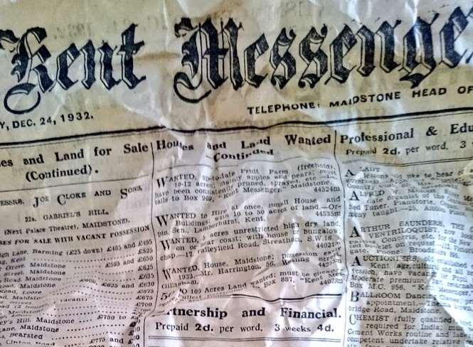 The front page of the Christmas Eve edition from 1932 was found between intervertebral discs