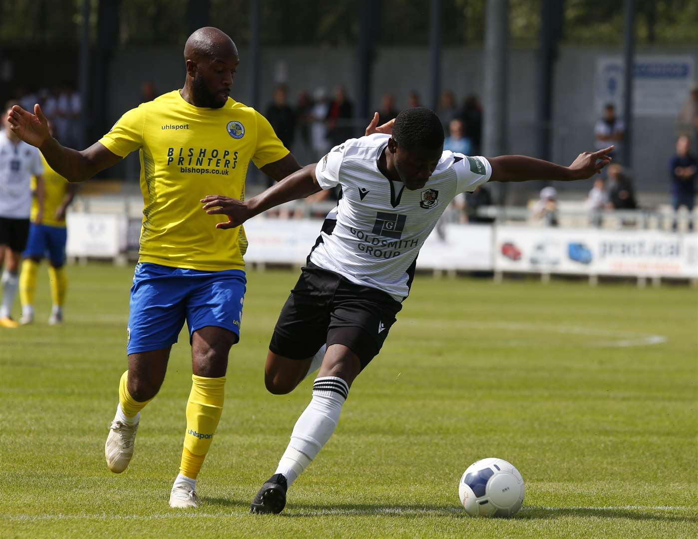 Dartford striker Norman Wabo tries to stay on his feet Picture: Andy Jones