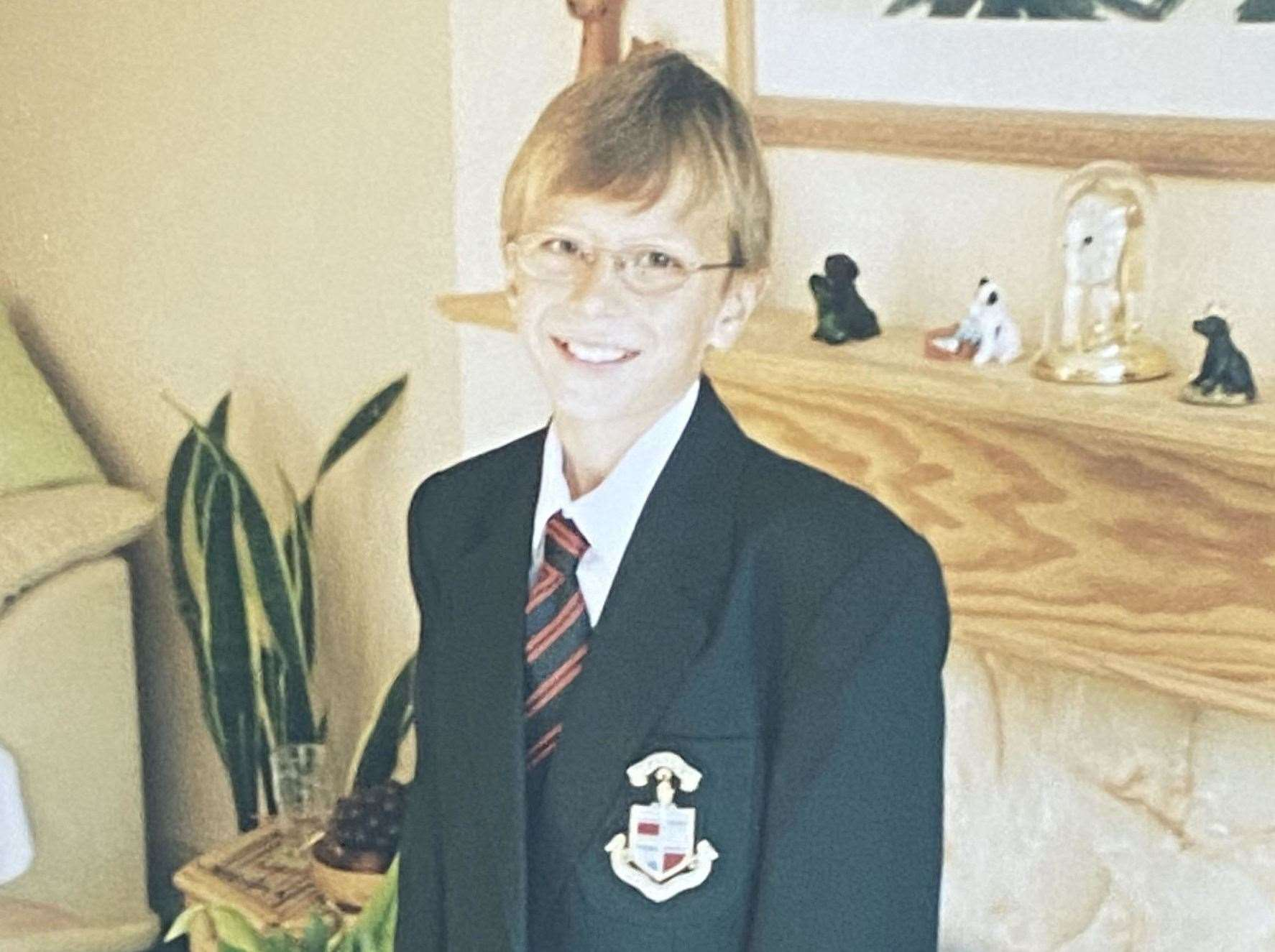 James on his first day at the Harvey Grammar