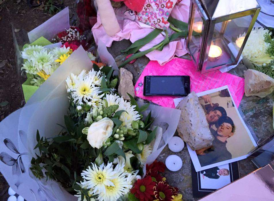 Floral tributes were left at the scene of the crash