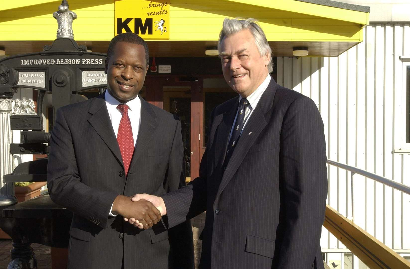 As Chief Constable of Kent, Michael Fuller meets the late Edwin Boorman, the then chairman of what is now KM Media Group