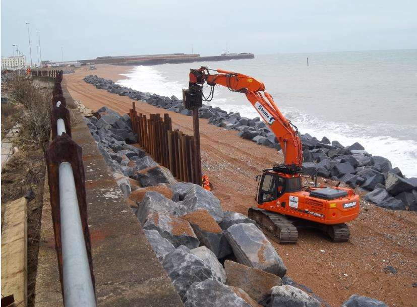 Rail repair works to Dover sea wall at Shakespeare Beach