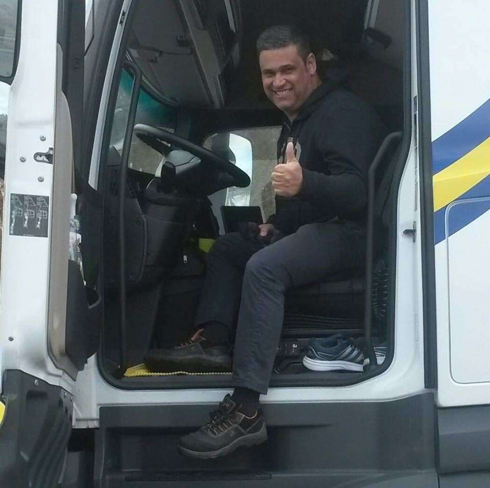 Driver Mario Pinto in the cab of his lorry. Picture: Facebook (16496346)