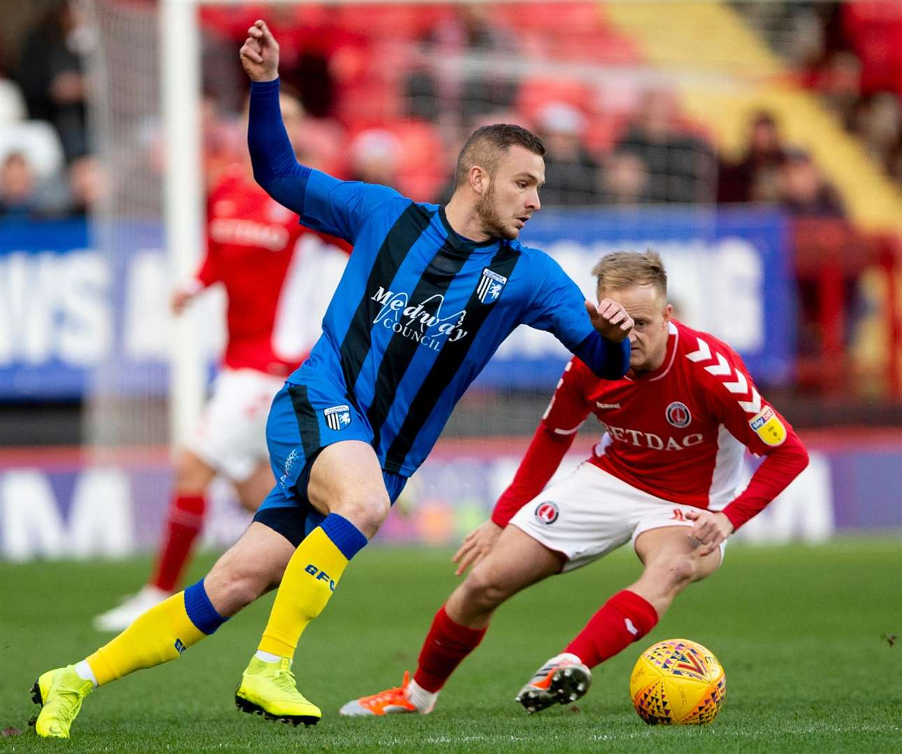 Dean Parrett cuts inside of Charlton's Ben Reeves Picture: Ady Kerry