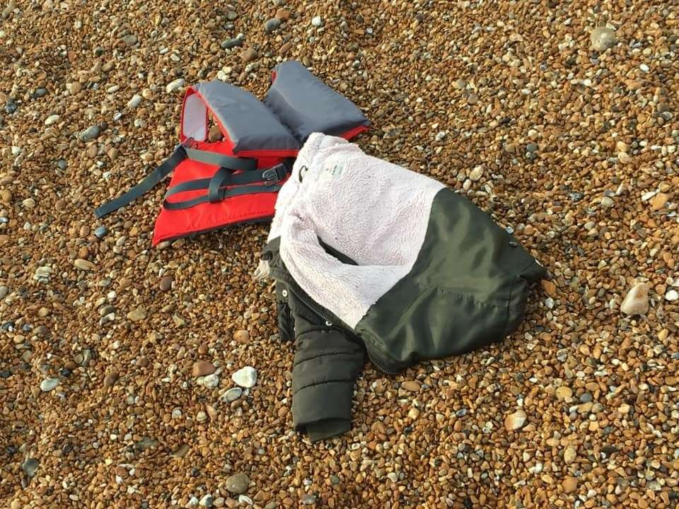 Several lifejackets and a coat were left at the beach. Photo: Beata Hrkova