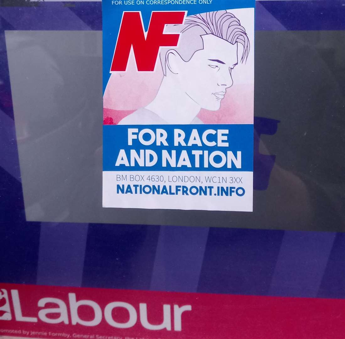 The National Front poster was slapped on a window at the home of aspiring Labour MP Rebecca Gordon-Nesbitt (5735116)