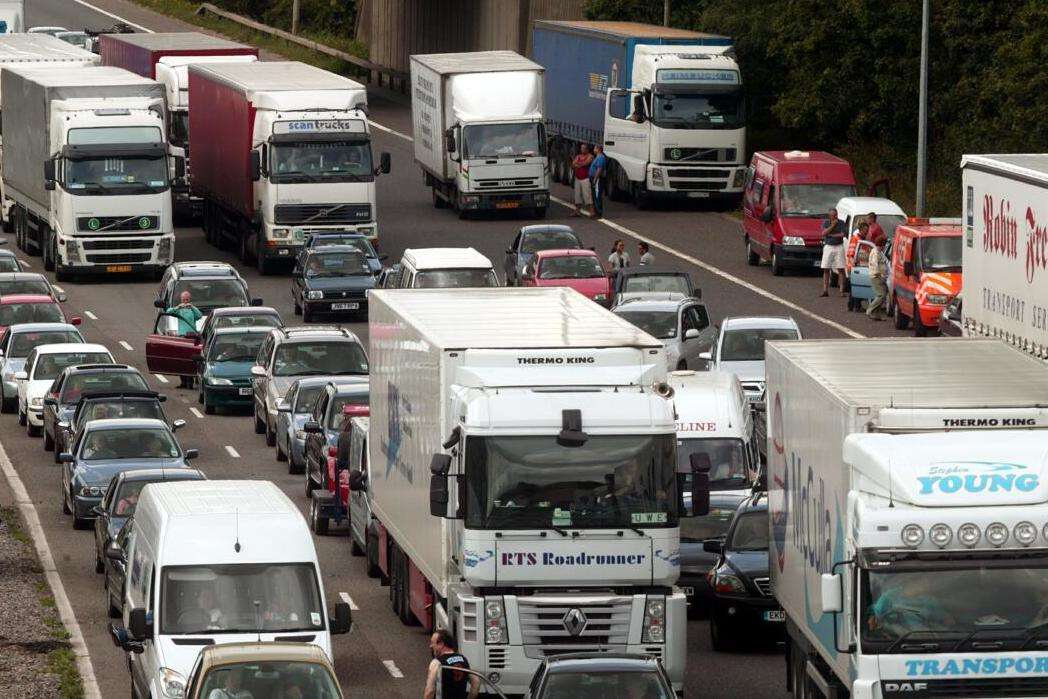 The incident caused long delays on the motorway. Stock image
