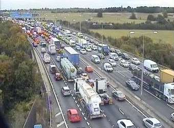 Gridlocked traffic. Stock picture: Highways England.