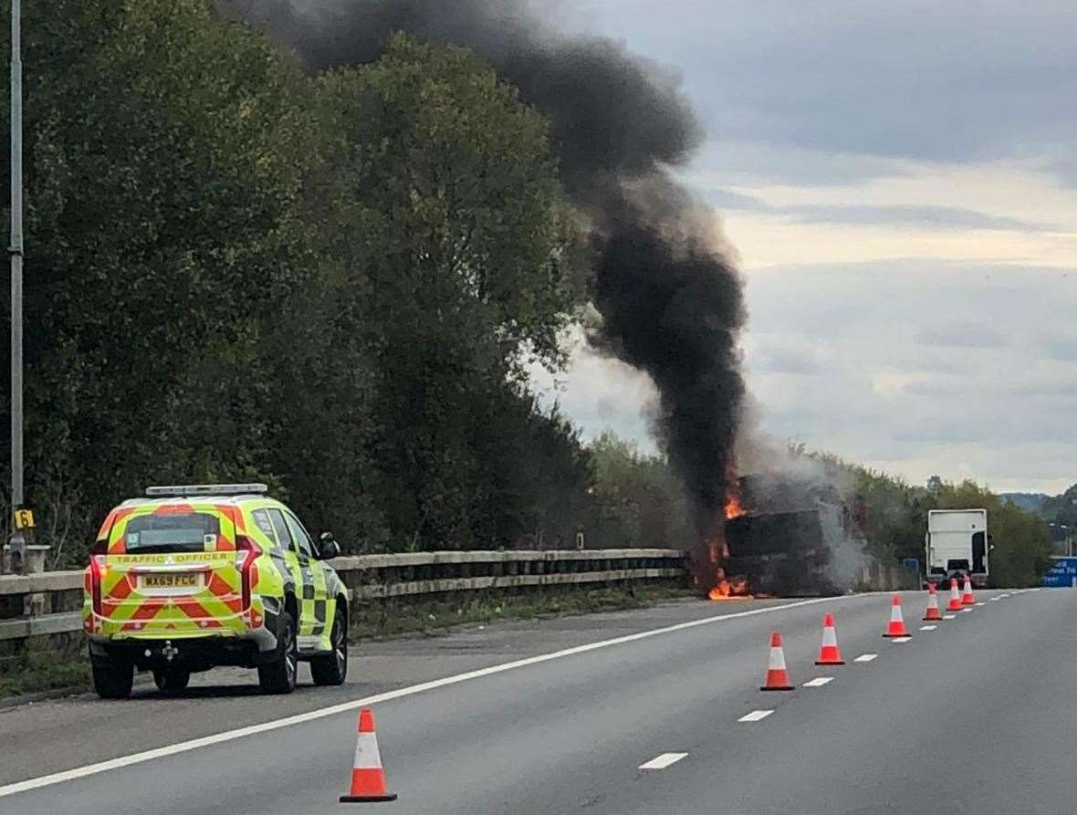 A lorry caught fire on the M20 this afternoon