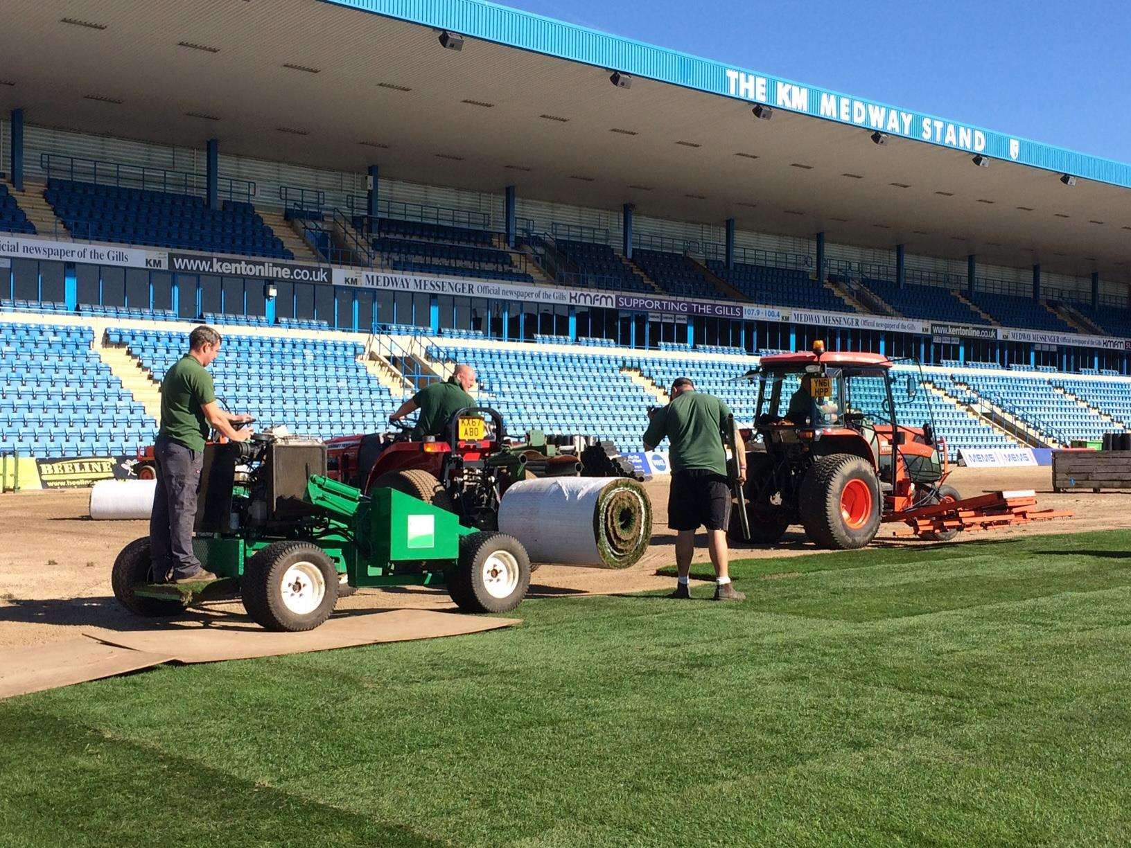 Gillingham's new hybird pitch is being laid Picture: KM (4692316)