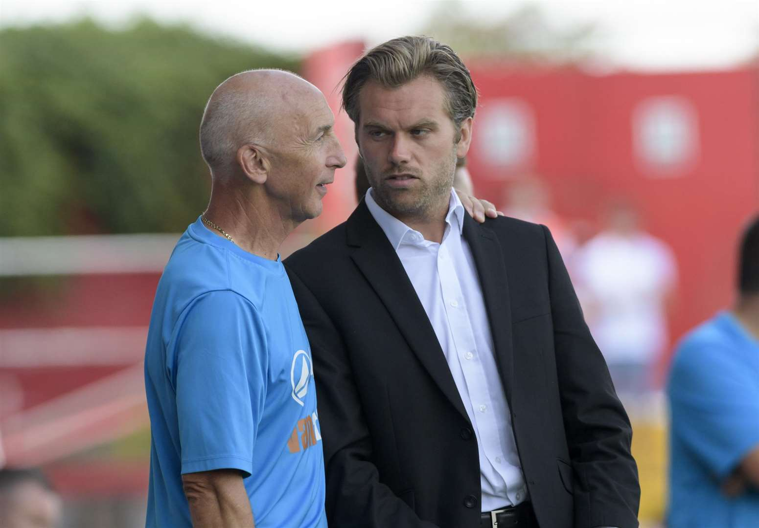 Ebbsfleet boss Daryl McMahon (right) with assistant Steve Gritt Picture: Andy Payton