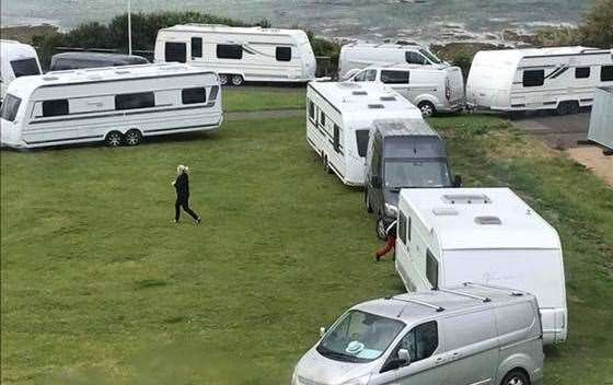 Travellers pitched up near Ethelbert Crescent in Cliftonville earlier this year