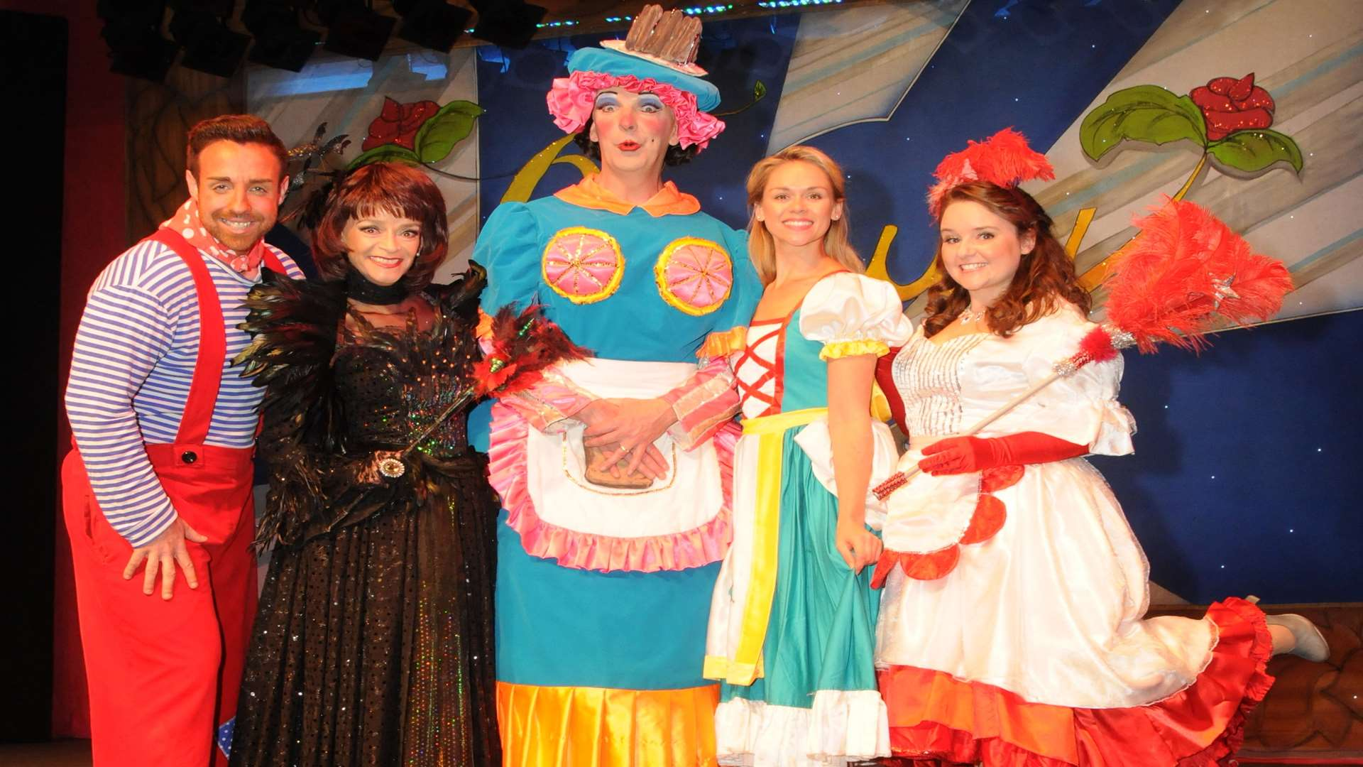 Stevi Ritchie as Potty Pierre, Sue Holderness as Malevolent, Michael Neilson as Dame Dotty Derier, Katy Ray as Beauty, and Sarah Lark as Fairy Formidable.