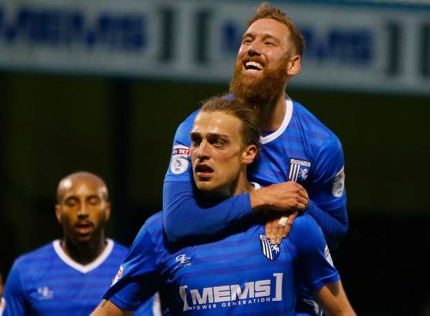 Tom Eaves celebrates his goal with Scott Wagstaff. Picture: Andy Jones