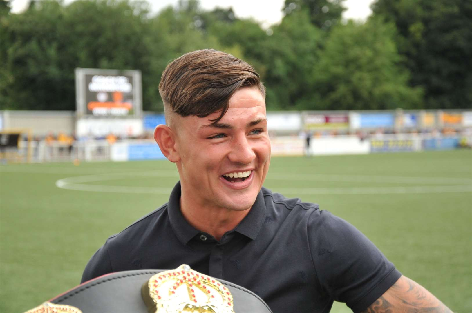 Sam Noakes visits hometown football club Maidstone United Picture: Steve Terrell
