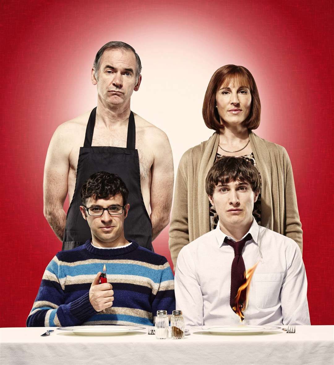 Paul Ritter (top left) played Martin in Friday Night Dinner alongside Tamsin Greig, Simon Bird and Tom Rosenthal. Picture: Channel 4
