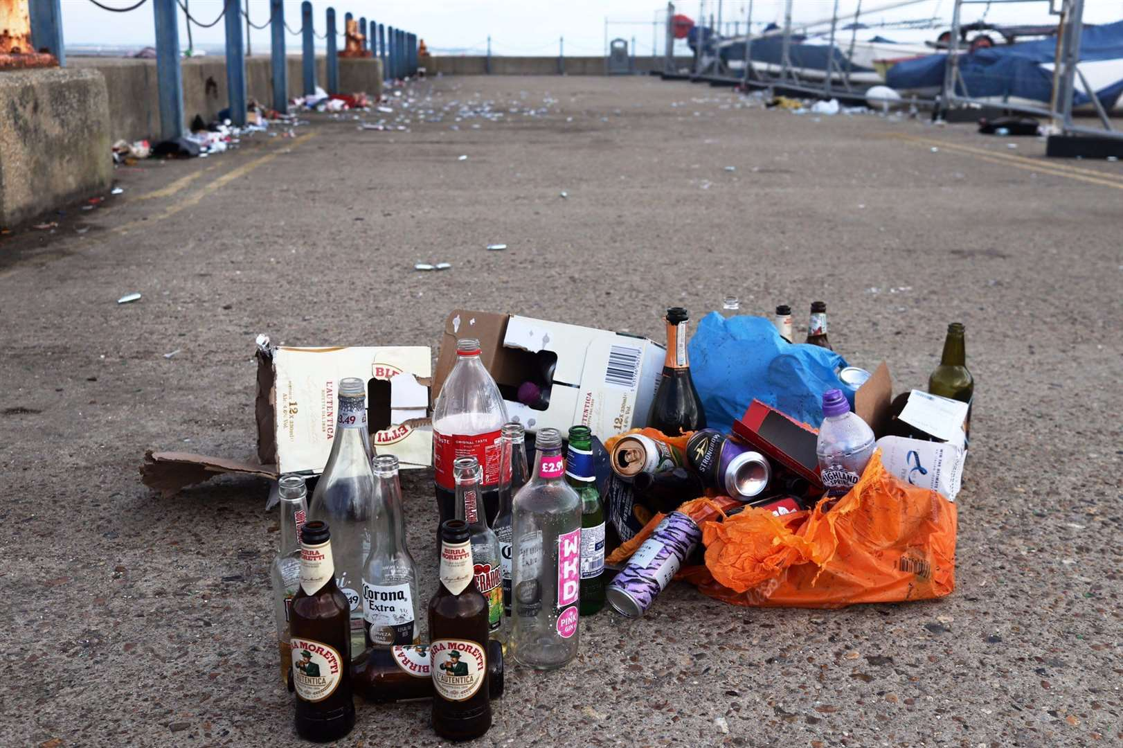 Litter on the West Quay, Whitstable. Picture: Alex Hughes