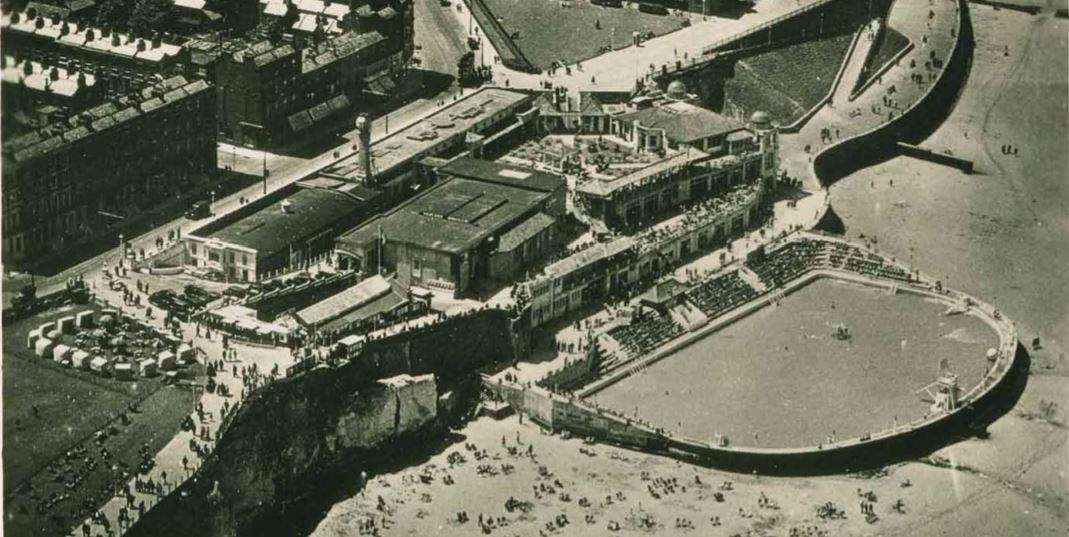 An aerial view of The Lido site in the 1950s