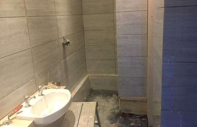 The tiling is moving forward, but the ladies' toilets are still far from being finished.  In the meantime, they must use the disabled toilet