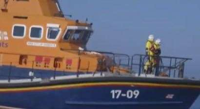A Border Force boat made the rescue of migrants near the cross over of French to English waters. Picture Nigel Farage