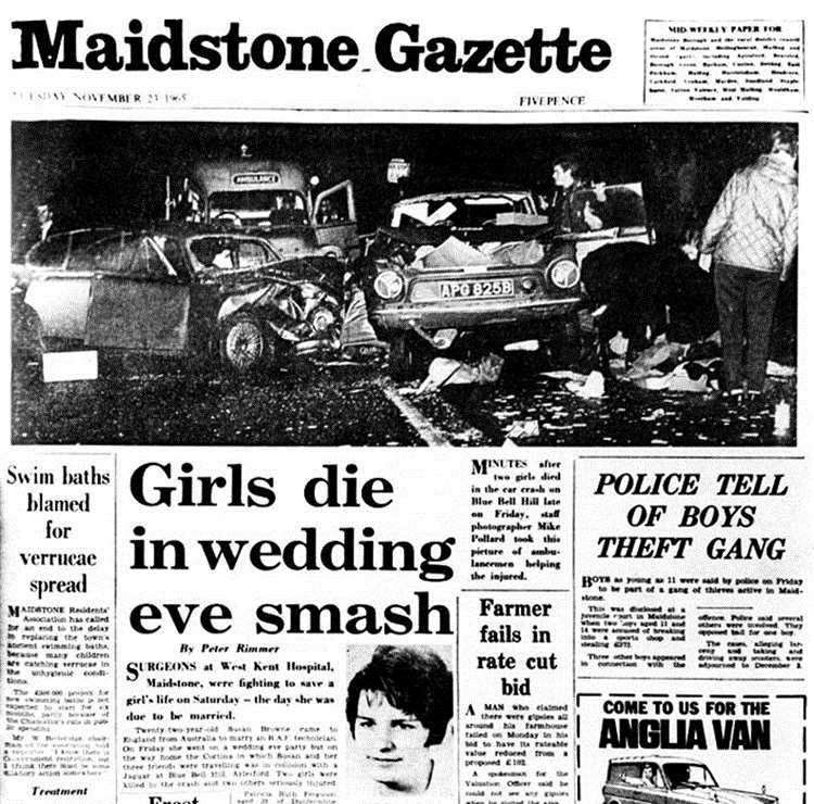 Front page of the Maidstone Gazette shows the horror crash