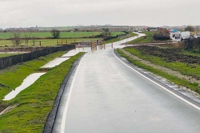 Part of the cycle path under water. Picture: Adam Baker