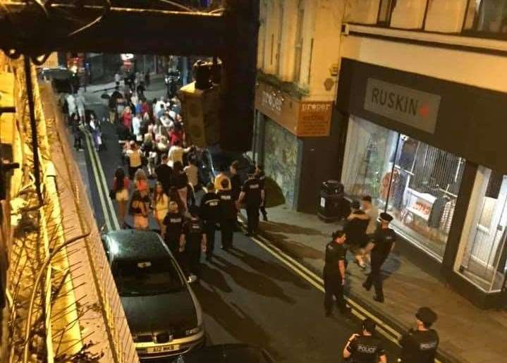 The group were dispersed by police in Margate High Street. (15899360)